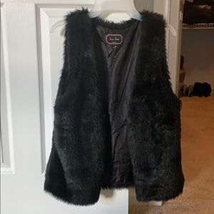 Faux black fur vest